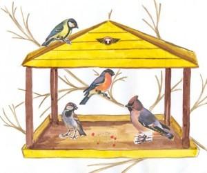 На кормушке сидя, птицы