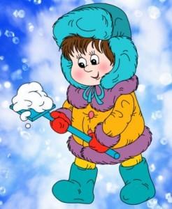 Наблюдение детьми за снегом.