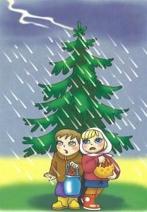 нельзя прятаться под отдельно стоящими деревьями