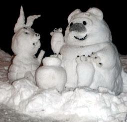 снежные фигуры в детском саду