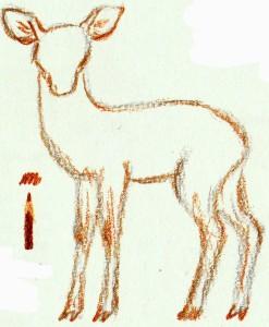 рисуем пятнистого оленя
