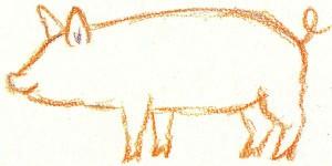 нарисовать свинью карандашом