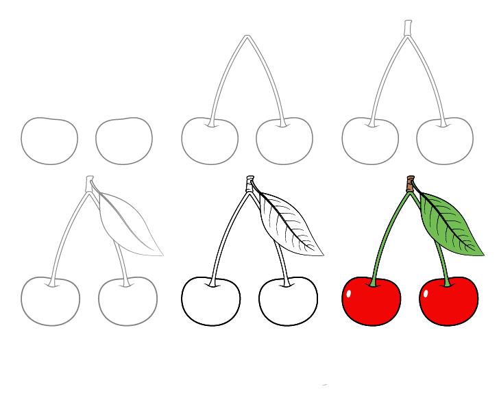 как нарисовать вишню