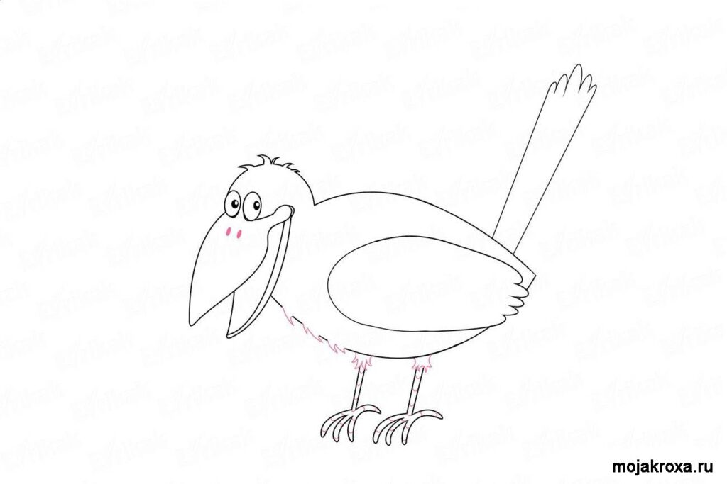 ворон нарисовать карандашом поэтапно